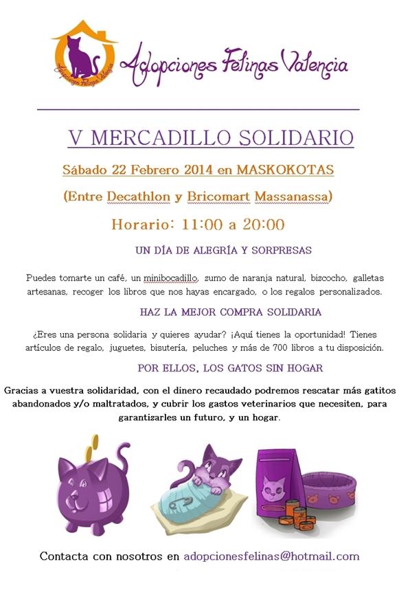 V MERCADILLO SOLIDARIO ADOPCIONES FELINAS VALENCIA: Sábado 22 Febrero 2014 12488949315_b273ff0aec_o