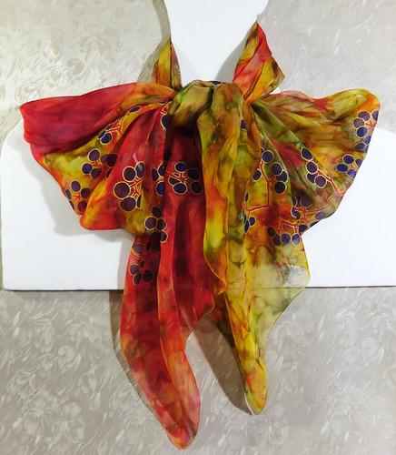 "Large silk scarf ""Autumn constellations"""