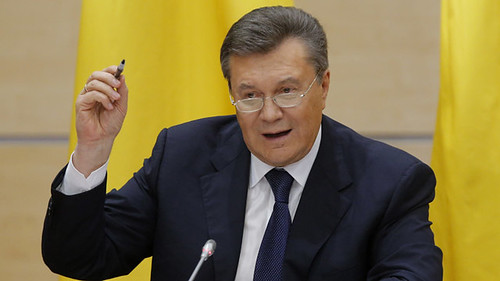 Ukrainian President Viktor Yanukovich at press conference in Russia on February 28, 2014. The leader was overthrown by a United States engineered coup. by Pan-African News Wire File Photos