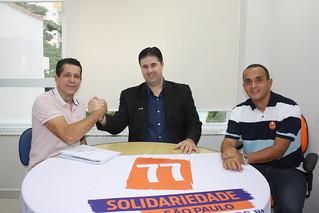 O presidente estadual David Martins, o pré-candidato a federal pelo Solidariedade Paulo Lopes e o coordenador regional Fábio Pereira