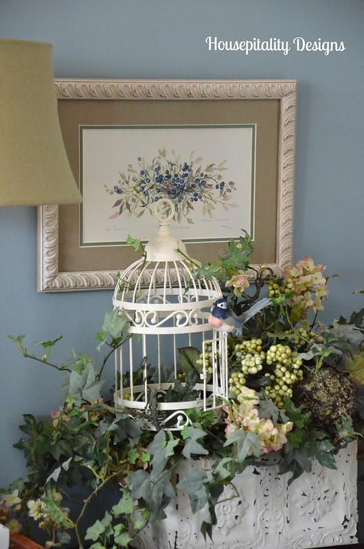 Birdcage floral arrangement