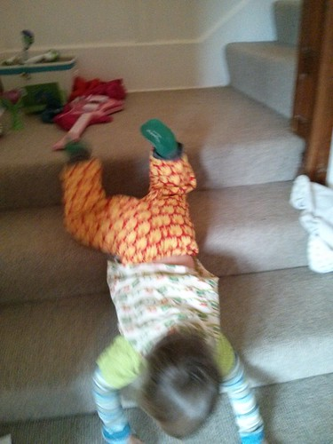 Sliding down the stairs
