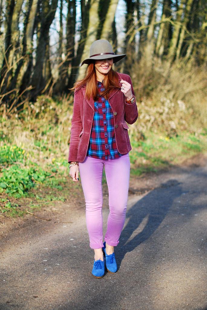 Plum corduroy jacket, lilac jeans & blue brogues