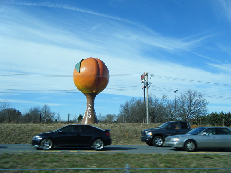 Peach water tower in Gaffney