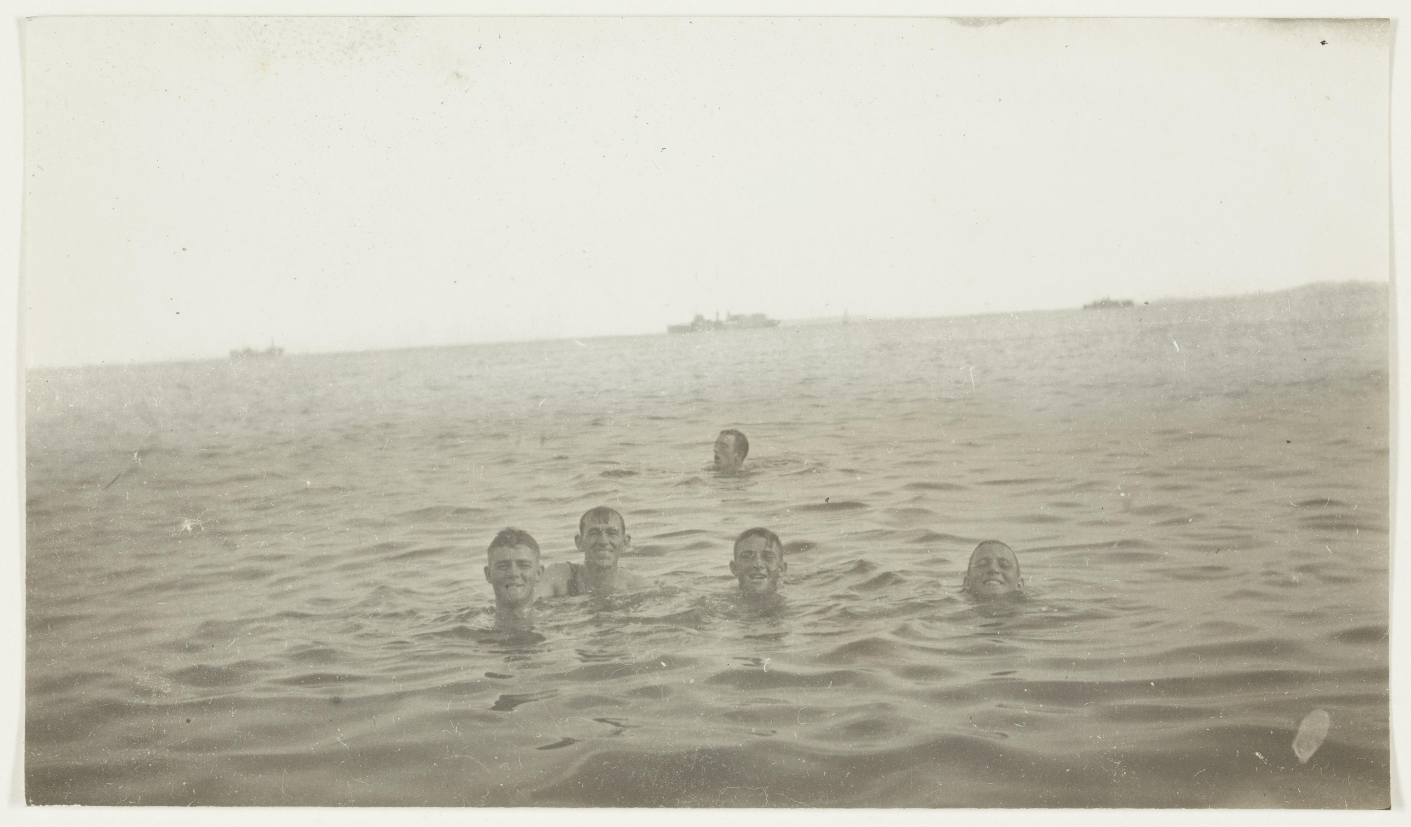 Swimming at El Arish  by J.F. Smith of the 7th Light Horse in Egypt and Palestine, c. 1914-1918
