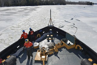 The crew of the Coast Guard Cutter Thunder Bay breaks ice along the Kennebec River, in Gardiner, Maine, March 27, 2014. The Thunder Bay began icebreaking on the river to relieve flood potential as spring appears on the horizon. U.S. Coast Guard photo by Petty Officer 2nd Class Rob Simpson.