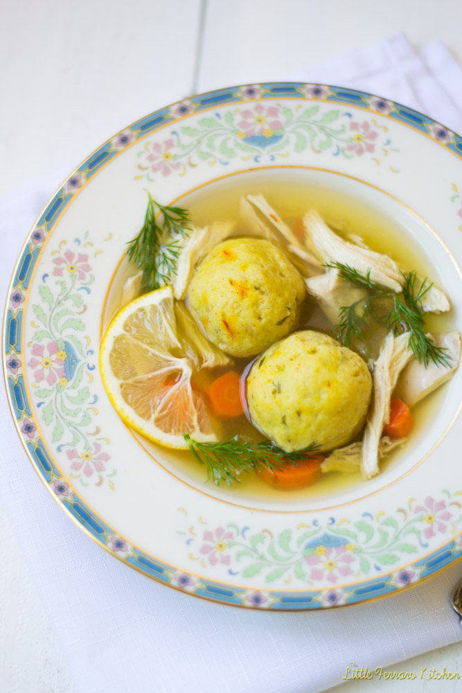 Lemon Saffron Matzo Ball Soup via LittleFerraroKitchen.com
