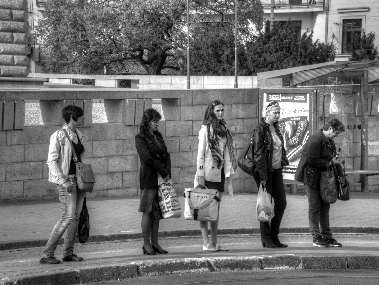 Five Women at Tram Stop (Monochrome)