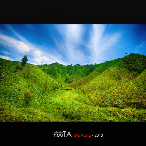 green grass landscape hill vietnam danang