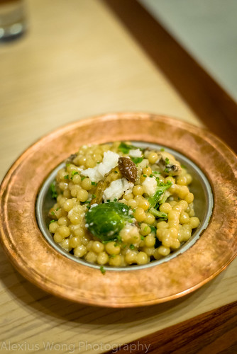 Mushroom Lebanese Couscous with Brussels Sprouts