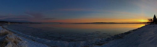 winter ice sunrise pano lakemichigan traversecity westbay iphoneography