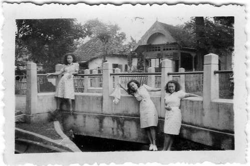 Van Waeterschoodt sisters at the river Tjiliwoeng in the Dutch East Indies around 1936