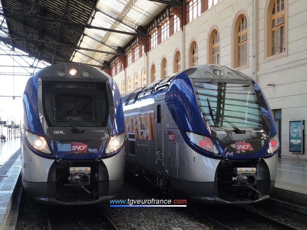 Les automotrices Regio 2N (rames 013L et 024L) affectées au service TER SNCF PACA