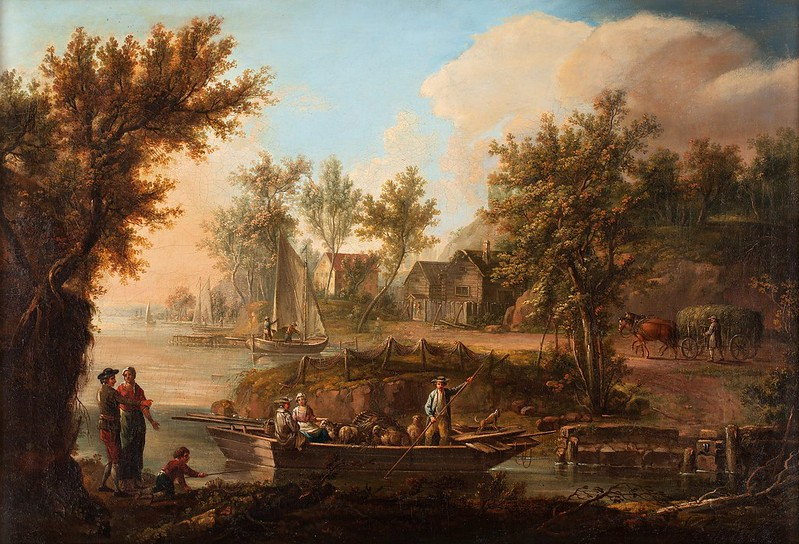 Johan Philip Korn - Pastoralt landskap med figurer och bat (1786)