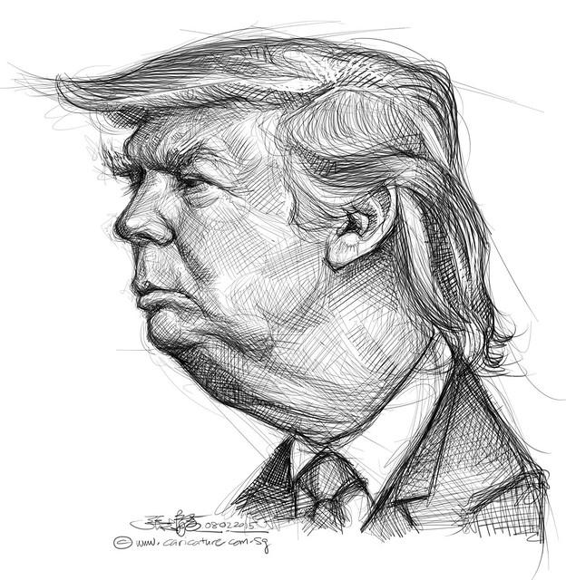 digital caricature sketch of Donald Trump1