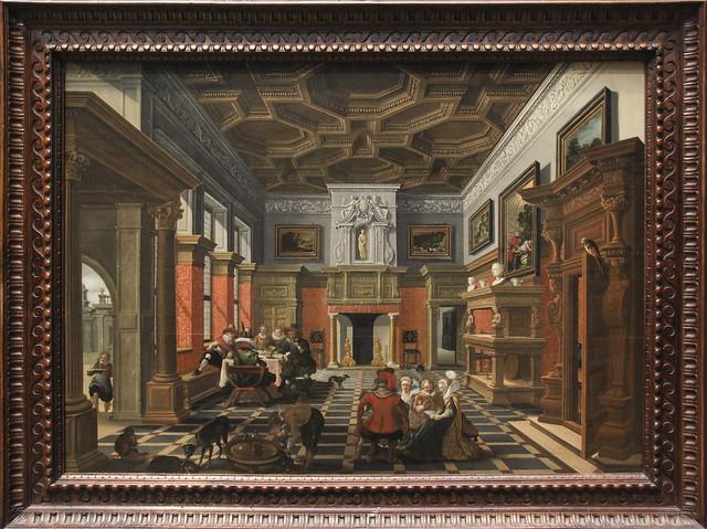 Interior with a Company, Bartholomeus van Bassen (1590-1652), Esaias van de Velde (1587-1630)