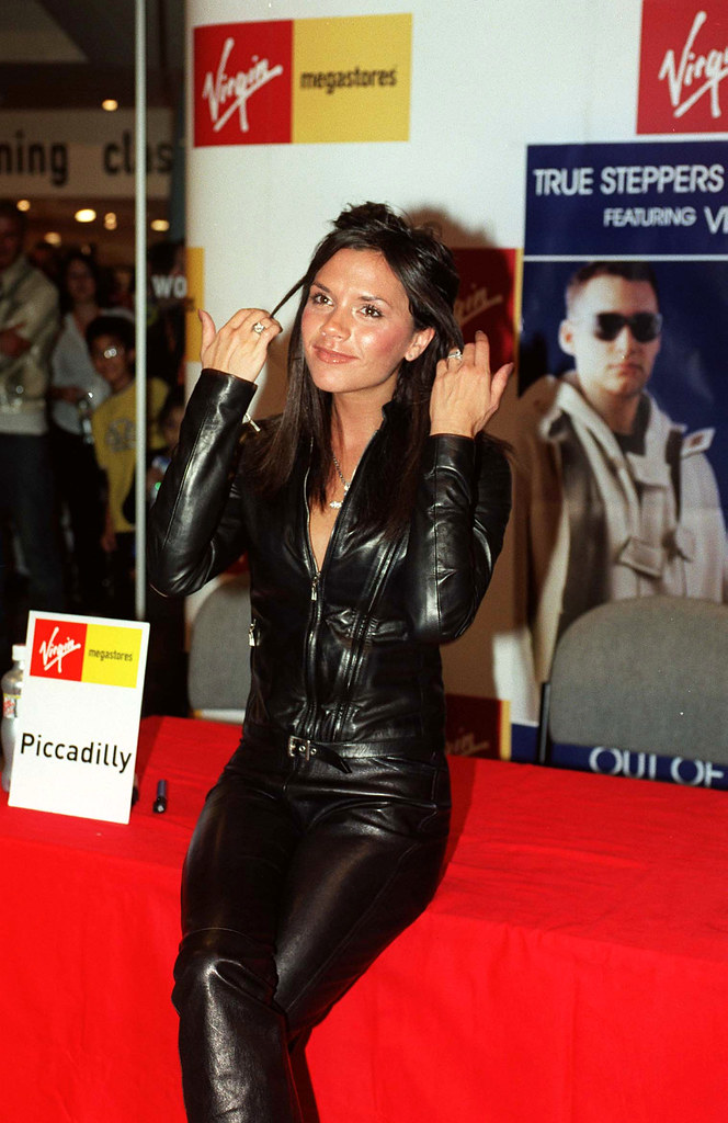 Victoria beckham in leather pants and jacket