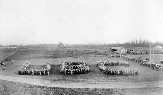 "Great Trek on campus - Formation of ""UBC"" October 28, 1922"