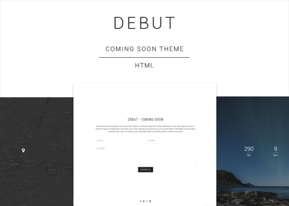 Debut – Coming Soon HTML Template Creativemarket