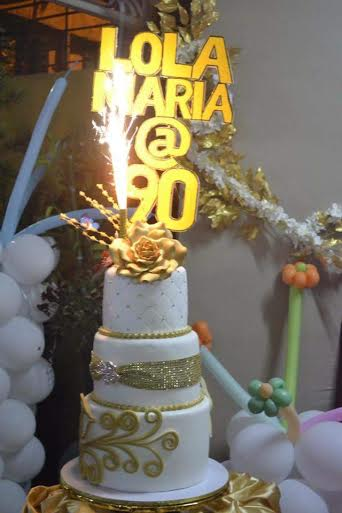 Three-Layer 90th Birthday Cake by Sheila Paghunasan of Cakes by Magic of Cake