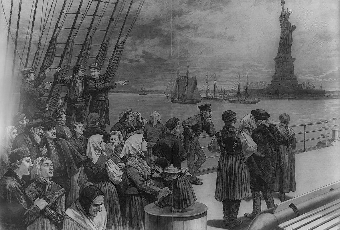 Welcome to the land of freedom - an ocean steamer passing the Statue of Liberty, 1887