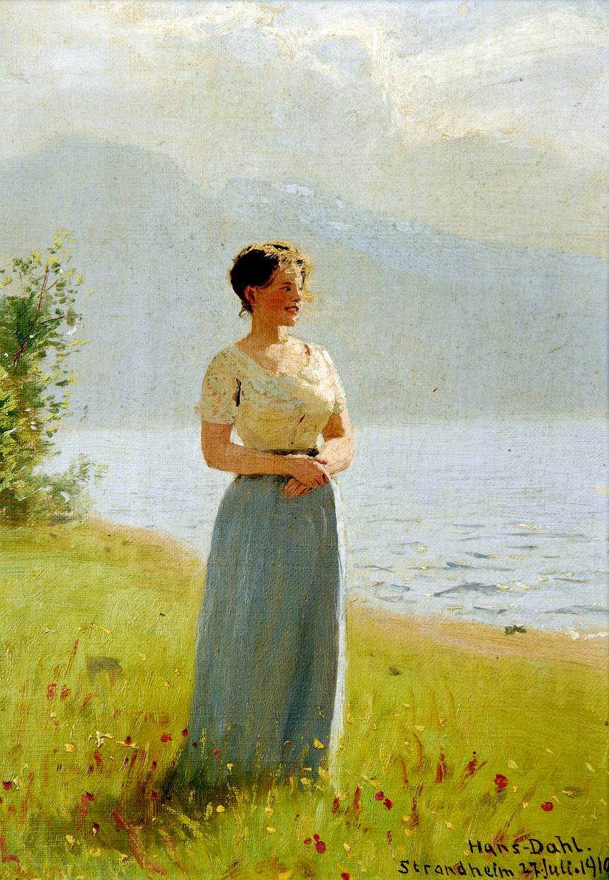 Girl Beside a Fjord by Hans Dahl, 1910