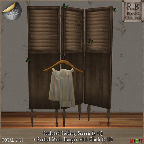 GIFT ! *RnB* Folding Screen & Hanger with Cloth (Partial Mesh) (copy only)