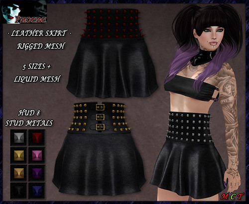 *P* MESH Studded Leather Skirt ~Metals HUD~