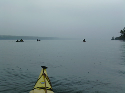 Paddling in the rain on Cayuga Lake