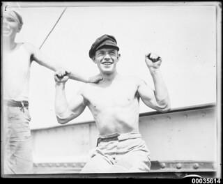 Crew member seated on board MAGDALENE VINNEN