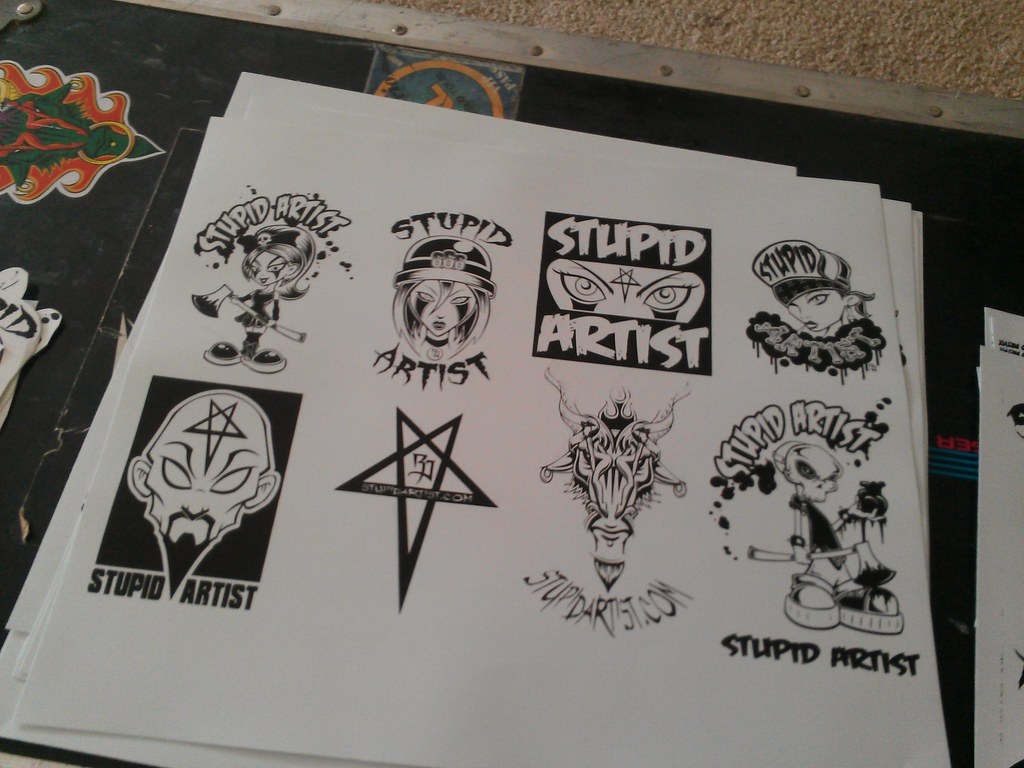 New screen printed vinyl stickers stupid artist rj dibened flickr