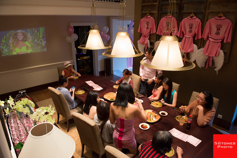 Victoria Secret runway show projection on the wall of the dining hall in Capella Manor.