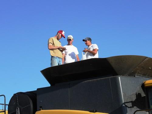 Graham, Kyle, and Jose checking a sample
