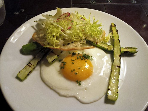 Grilled Asparagus, Fried Hen Egg, Caper Egg Mayonnaise