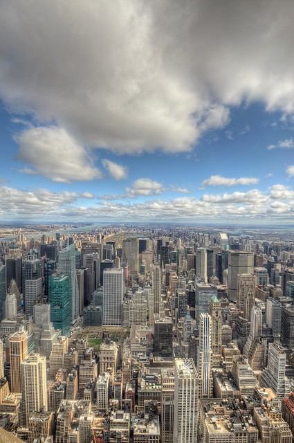 A view for miles and miles from the top of the Empire State Building in New York City HDR