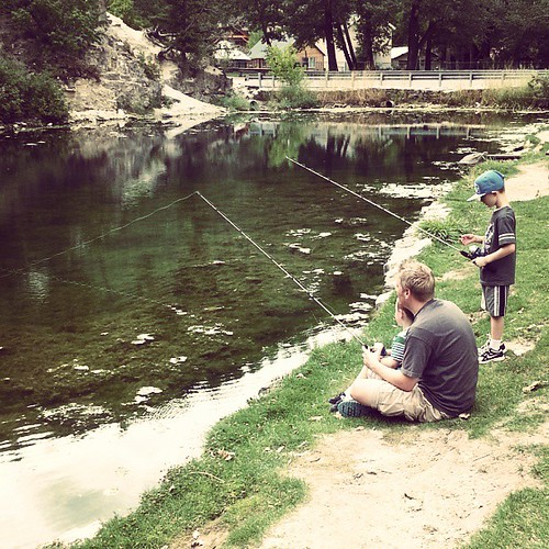 Fishing!  They've been waiting all week to fish and have practiced casting in the back yard for days.  I think though that they are only going to catch moss.. #griswaldstaycation2013