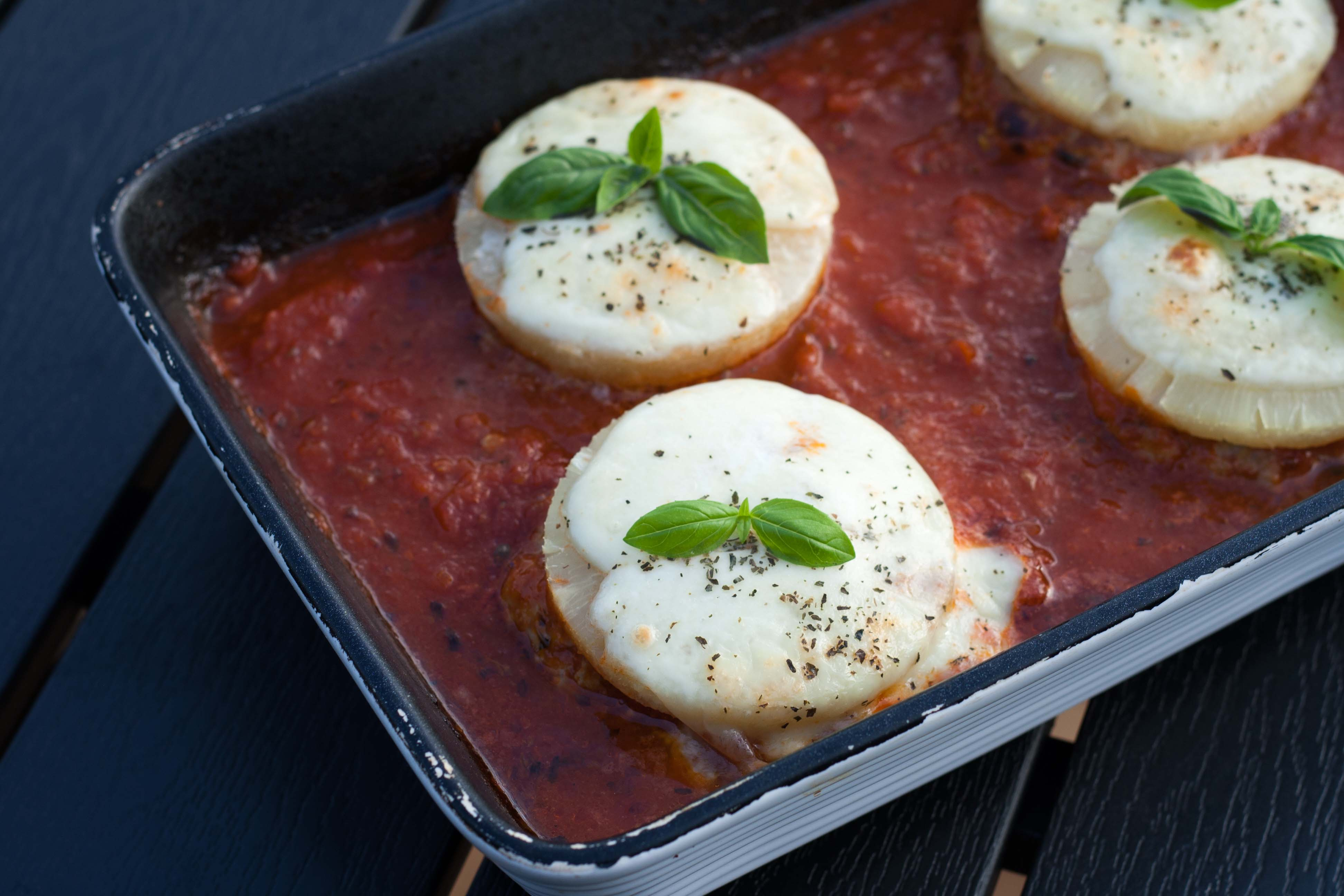 Hawaii Pork Patties in delicious tomato sauce with mozzarella and basil 4