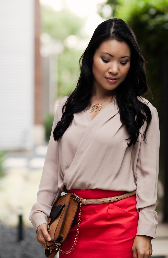 rose wrap top, coral red skirt, leopard pumps, melie bianco color block cross body purse outfit #ootd | petite fashion