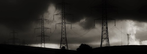 trees light england sky bw storm monochrome clouds canon landscape mono blackwhite shadows structures stormy panoramic hills electricity pylons ogden