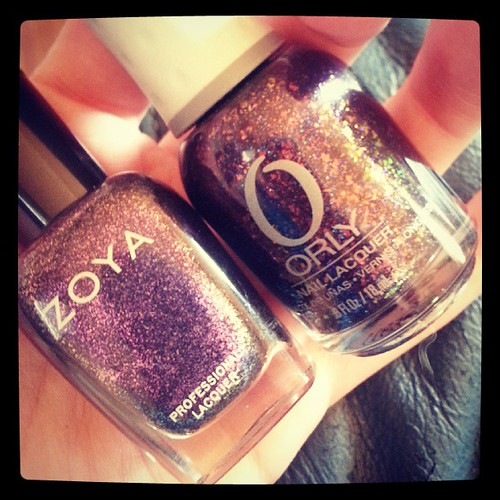 "Two of my favorite fall nail polishes: Zoya's ""Julieanne"" and ORLY's ""Fowl Play""! #nailpolish #zoya #ORLY"