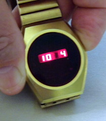 Vintage Goldtone LED Watch, Unmarked, National Semiconductor Module