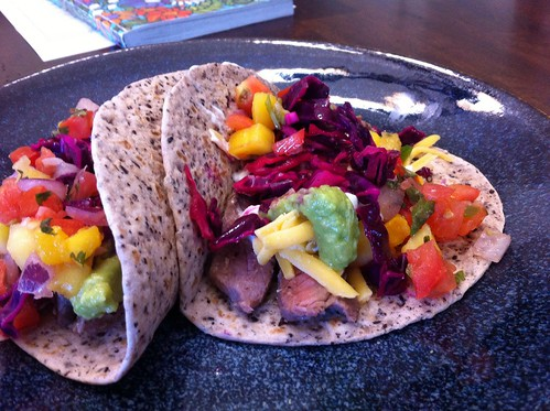 Steak tacos with a rainbow of toppings!