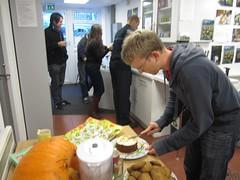Tom preparing cakes