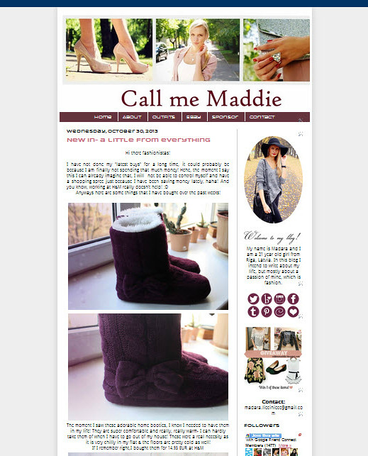 Call me Maddie blog's redesign, including a change of banner; social media buttons (mousover). How to redesign a fashion blog, tutorial blog design change, fashion blog, fashion blogger.