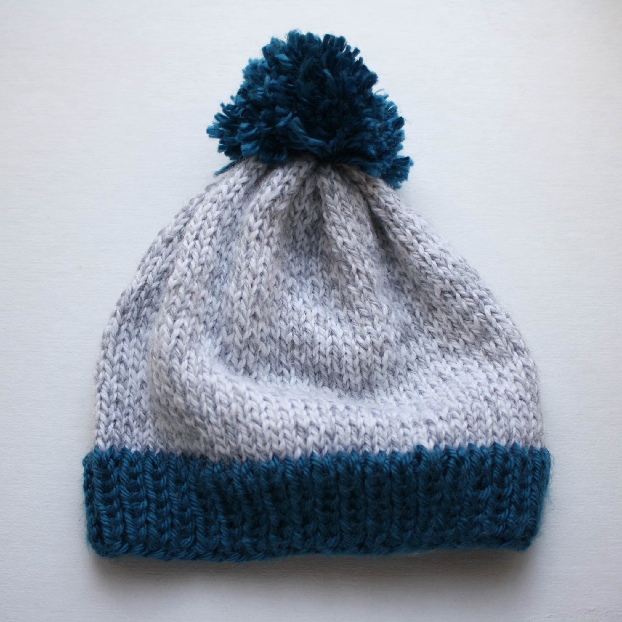 Free Knitting Pattern - Big Pom Baby Beanie