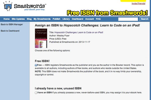 Free ISBN from Smashwords!