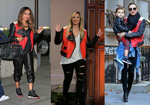 Who Wore Acne's Merci Colorblock Red, Black, And Beige Leather Jacket  Better? Miranda Kerr, Demi Lovato or Lala Anthony