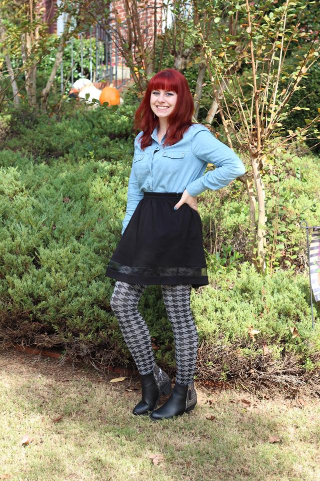 Houndstooth Tights, Denim Shirt, Black A-Line Skirt ...