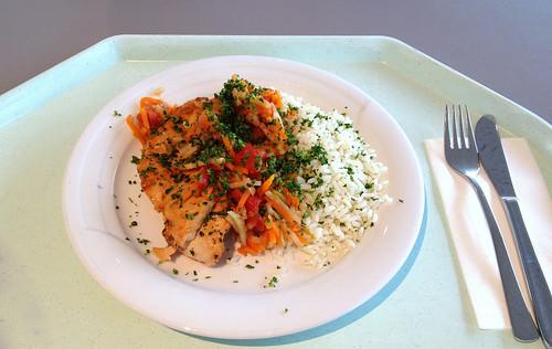 Saltimbocca vom Huhn mit Reis, Tomaten & Zucchini / Chicken saltimbocca with rice, tomatoes & zucchini