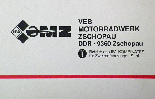 From the rear cover of an MZ spare parts catalogue